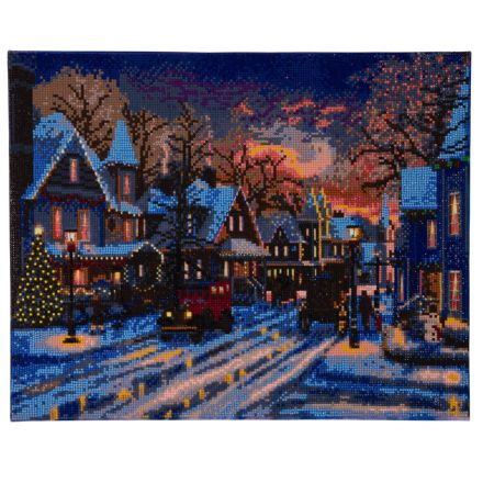 Craft Buddy Crystal Art Small Town Christmas kit with LED lights